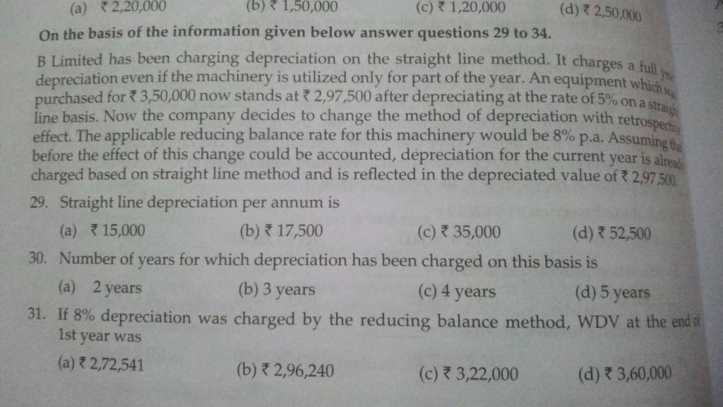 accounting questions depreciation Which accounting method computes depreciation by applying a fixed rate to the carrying value (the declining balance) of a tangible, long-lived asset.